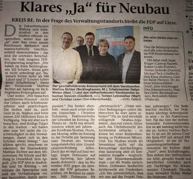 Artikel im Regionalteil der Stimberg Zeitung vom 26.2.2018