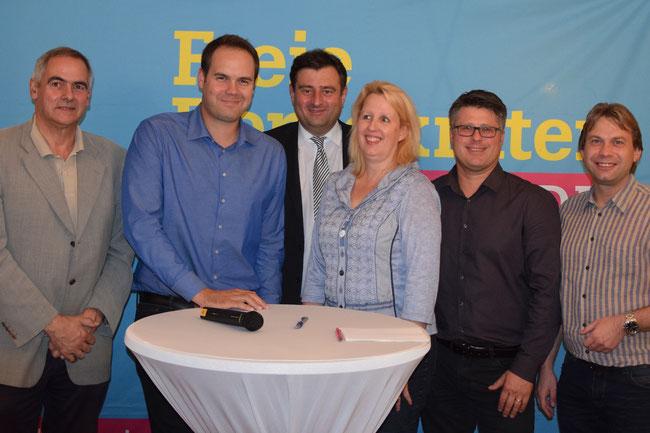 Landtagskandidaten mit Kreisvorsitzendem M. Richter (Dr. Mußhoff, Pötter, Richter, Dohmann, Leson, Leineweber)