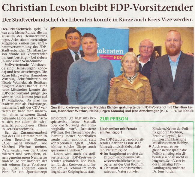 Artikel der Stimberg Zeitung vom 2.2.2018