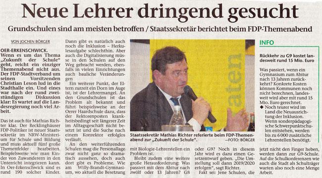 Bericht der Stimberg Zeitung vom 20.9.2017