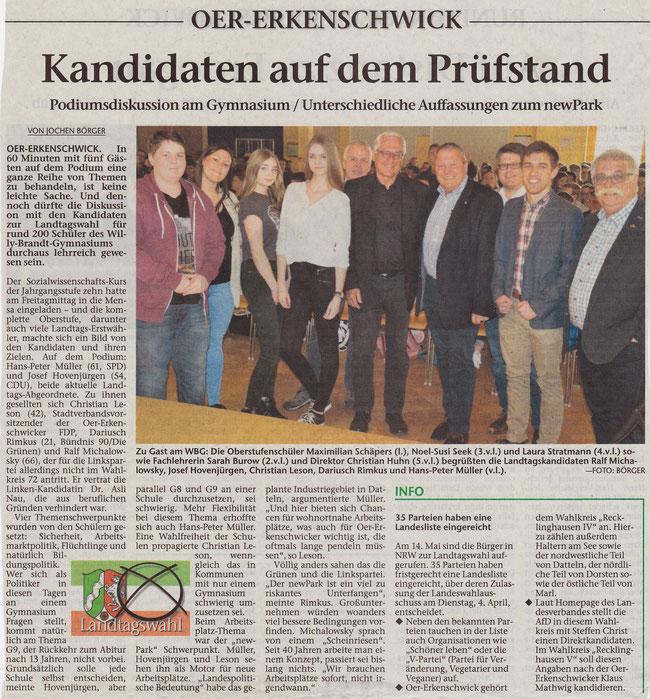 Artikel der Stimberg Zeitung vom 1.4.2017