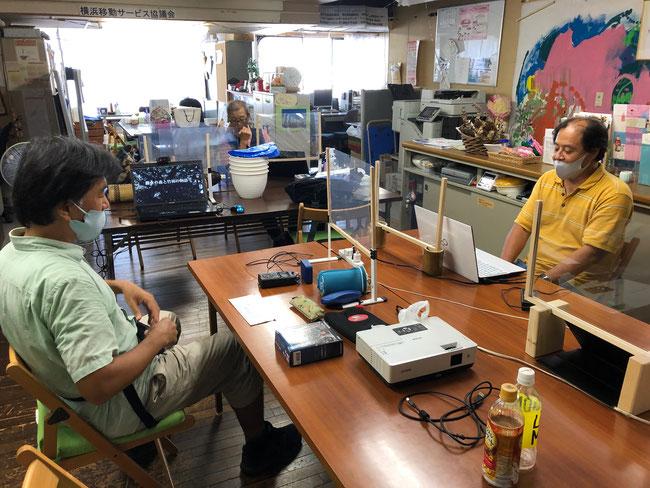 よこはま市民共同オフィスでの長谷川さん「竹を知る」セミナー配信の様子