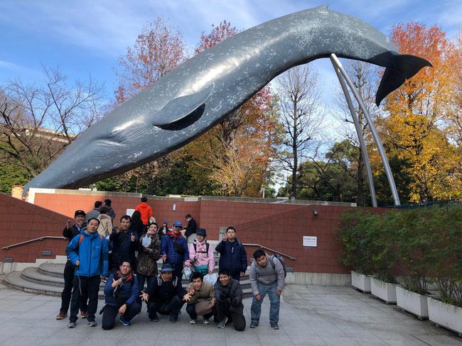 国立科学博物館の鯨モニュメントの前で 「ミイラ展」はちょっと怖かった(>_<)