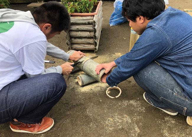 シーホース音楽工房のワークショップの準備で太い竹を切る。今度みんなで鎌倉まで竹伐採に行きましょう。