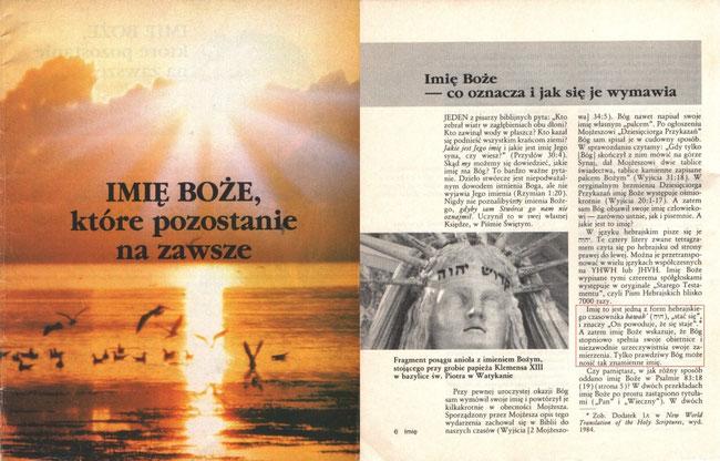 Imię Boże, które pozostanie na zawsze. Watchtower (Strażnica) Bible And Tract Society Of  New York, INC.