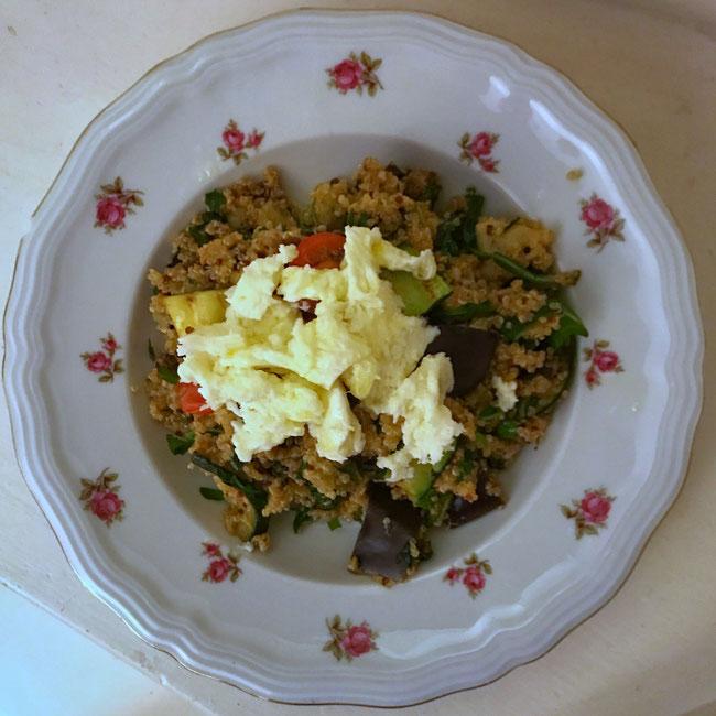 Quinoa met gegrilde groenten en mozzarella