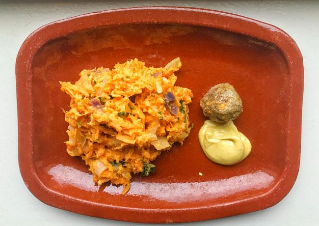 Zoete aardappel hutspot met zelf gedraaide gehaktballetjes
