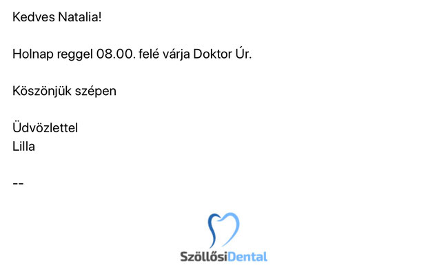 Письмо из клиники, на венгерском языке