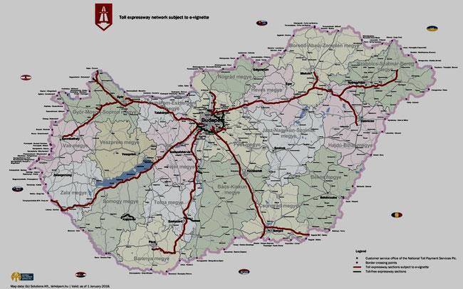 Карта платных автобанов страны