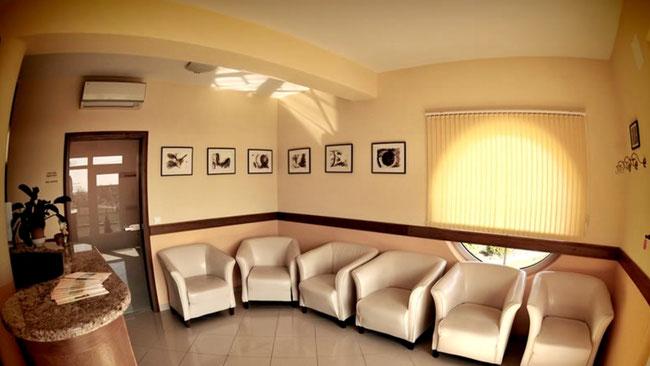 Зона ресепш и уютные кресла для клиентов клиники