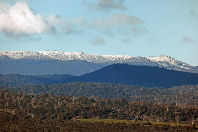 Snow on the mountains south-west of Launceston