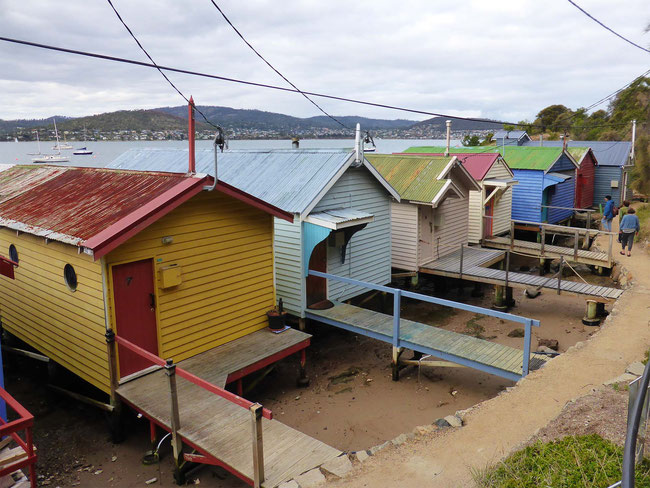Decorated boat sheds