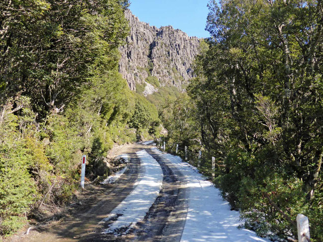 Snow on the road up Mount Barrow