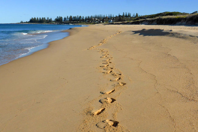 My footprints in the soft sand