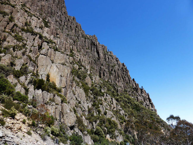 Dolerite cliffs on the drive up ben Lomond