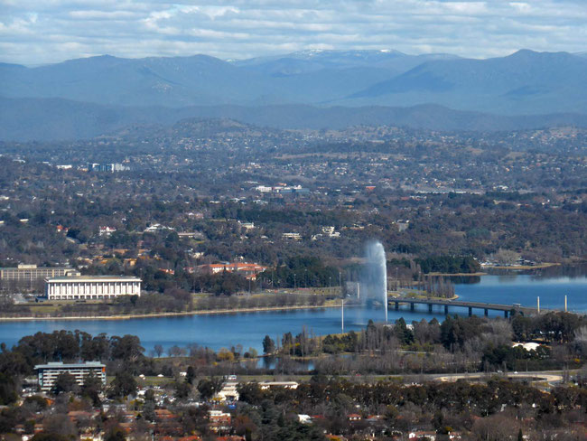 Lake Burley Griffin and snow on the mountains