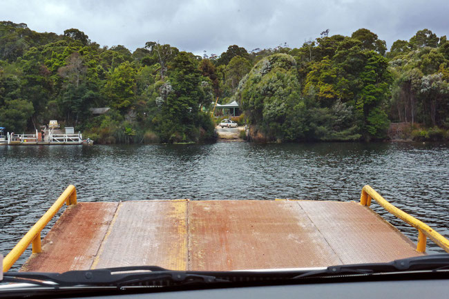 Crossing the Pieman River as seen from the car ferry (not in a hire car)