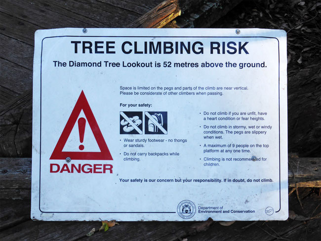 The Diamond Tree climb information sign