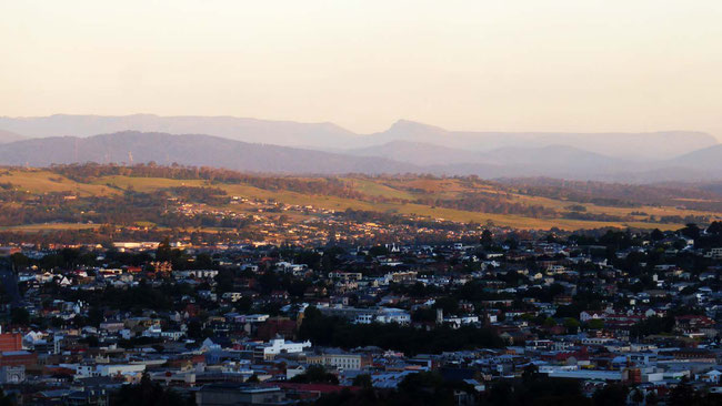 Evening shadow over Launceston