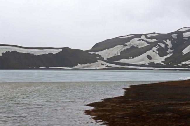 A partially thawed tarn