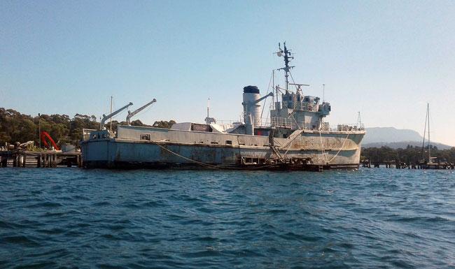 An ex-naval ship at Margate Marina