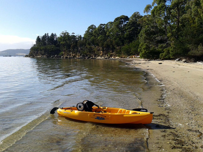 The kayak pulled up on a beach