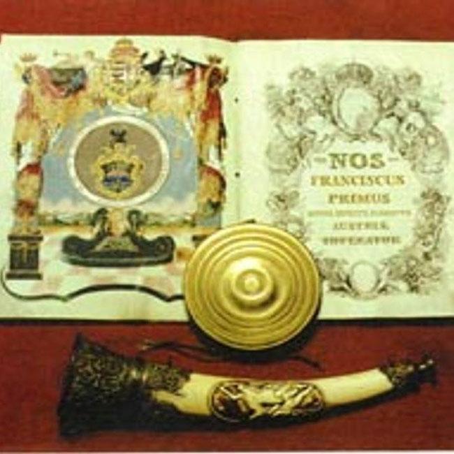Siegel und Urkunde mit Jagdhorn zur Ernennung der königlich-kaiserlichen Freistadt Arad