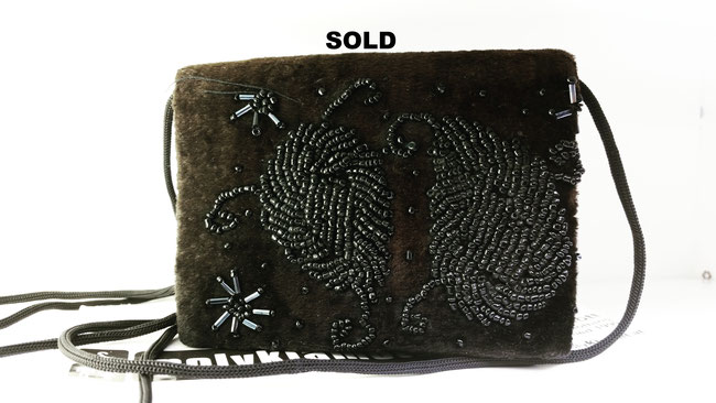 small 60s velvet bag with embroidery and long strap @polyklamott Vending Shop