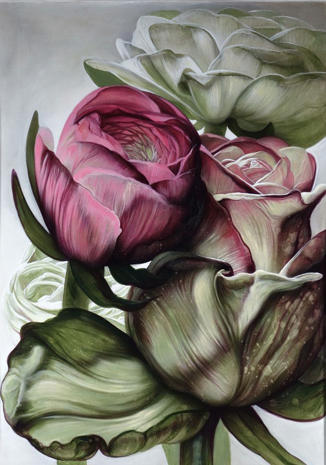 Blumen Rosen Tulpen Blumenstillleben Acrylbild Valentinstag Kunst Aigner Linz Art