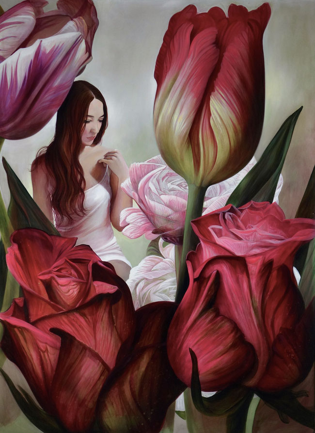 Tulpen, Rosen, Blumen, Blumenstillleben, Aigner, Kunst, Linz, Art, Acrylmalerei, Lukas Johannes Aigner,