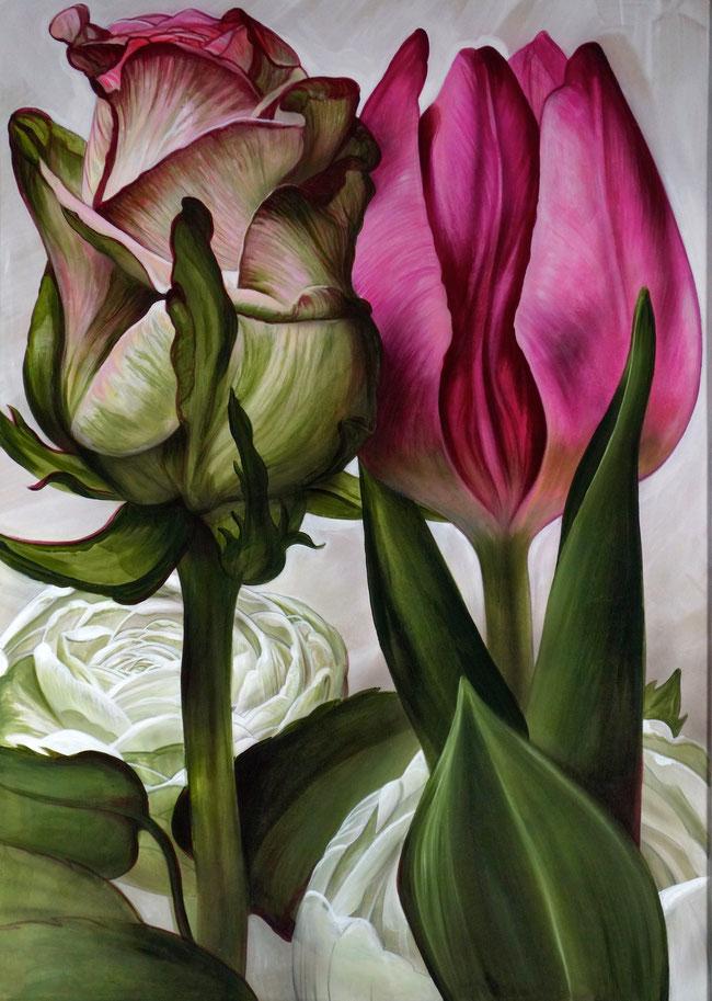 Blumen Rosen Tulpen Blumenstillleben Acrylbild Valentinstag Kunst Aigner Linz Art Malerei