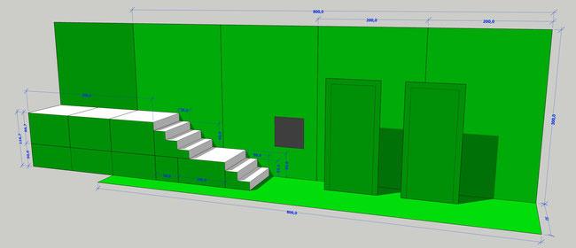 Aufbau für den Greenscreen-Dreh von Sam Madwar