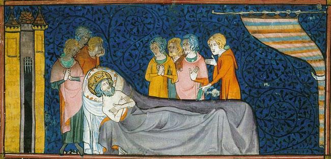 Détail d'une miniature de Saint Louis sur son lit de mort. TEMPLE DE PARIS