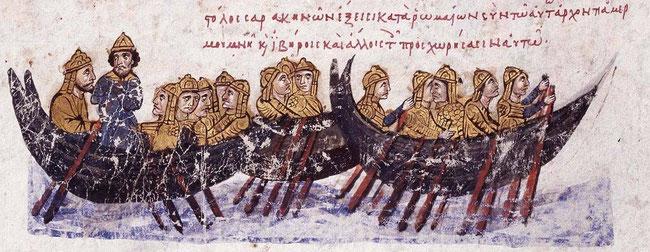 La flotte de pirates sarrasins se dirigeant vers la Crète. Image provenant du manuscrit de Jean Skylitzès à Madrid. F°38v (13ème siècle). Temple de Paris
