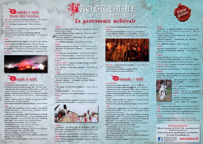 Programme Biot et les Templiers 2013