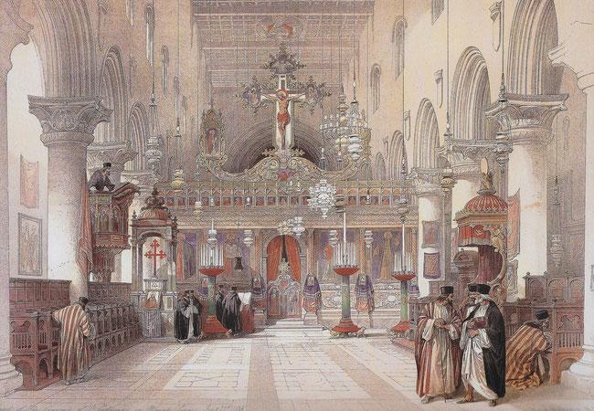 L'église de la Transfiguration en 1839 - Monastère Sainte-Catherine - Lithographie de David Roberts
