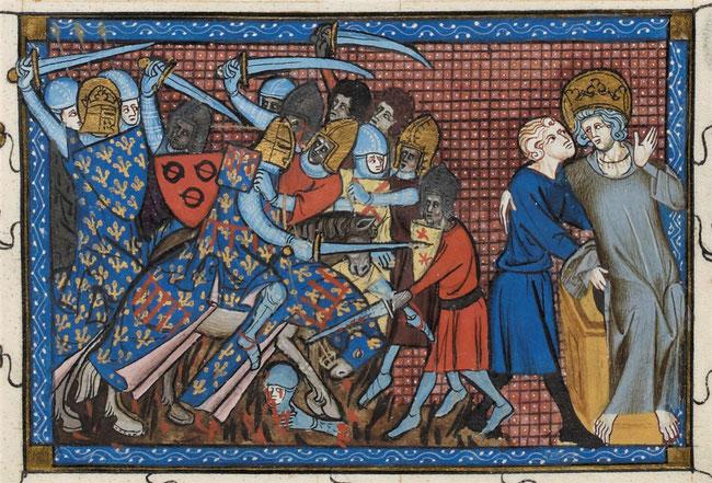 Bataille de Mansourah en 1250. Vie et miracles de Saint Louis, Guillaume de Saint-Pathus, XIVe siècle, BnF, f°199.