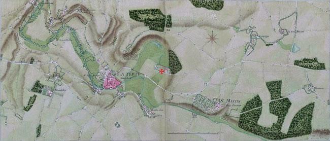 Emplacement de la chapelle de la Ferté-Gaucher - Atlas de Trudaine 1745 - 1780