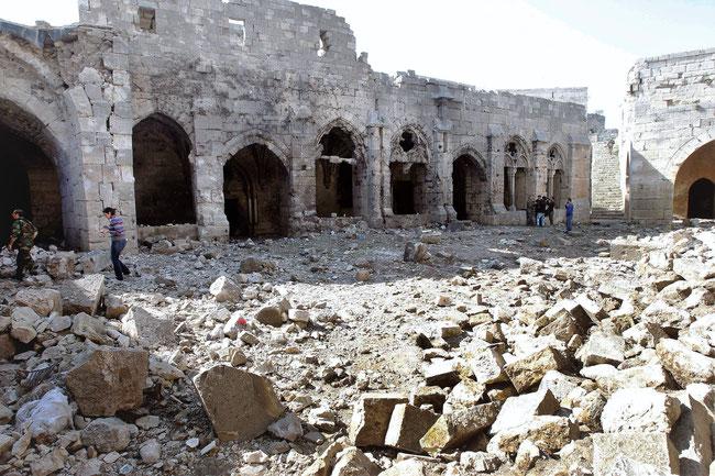 État du krac des chevaliers suite au conflit en Syrie.