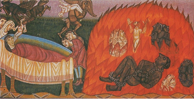 (5) Détail de la parabole de Lazare et du mauvais riche. Des démons s'emparent de l'âme du mauvais riche pour la remettre à Satan. Codex Aureus, 1043-1044.