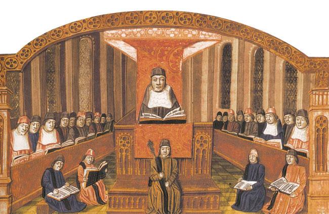 Cours de théologie à la Sorbonne. Enluminure, fin du XVe siècle. Bibliothèque de Troyes. Temple de Paris