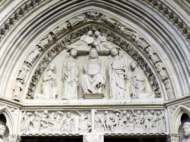 Église de Rampillon - Tympan du portail occidental (XIIIe siècle)