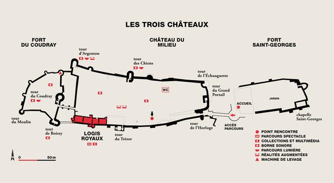 Plan de l'ensemble de la forteresse avec ses trois châteaux. Graphisme Agnes Dahan. Temple de Paris