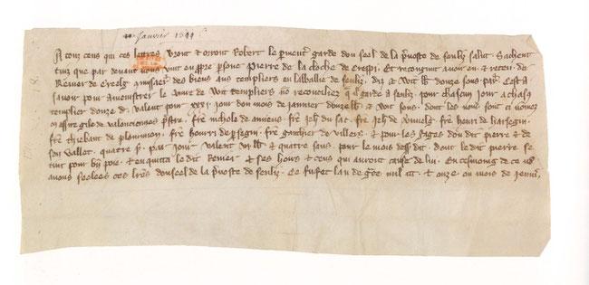Quittance de Pierre de La Cloche, de Crépy-en-Valois. Arch. nat. K38, n° 8.