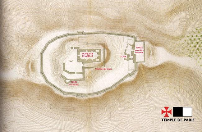 Plan de la forteresse de Chastel Blanc. Temple de Paris