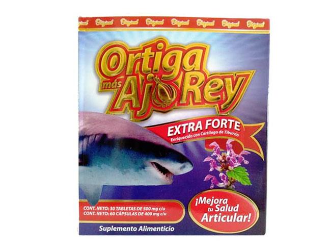 Ortiga más Ajo Rey Extra Forte, enriquecido con cartílago de tiburón, glucosamina, condroitina y MSM