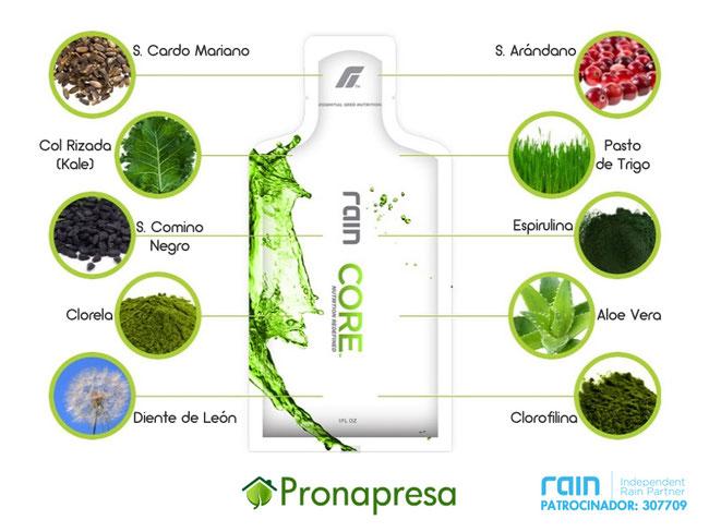 Ingredientes de Core de Rain International