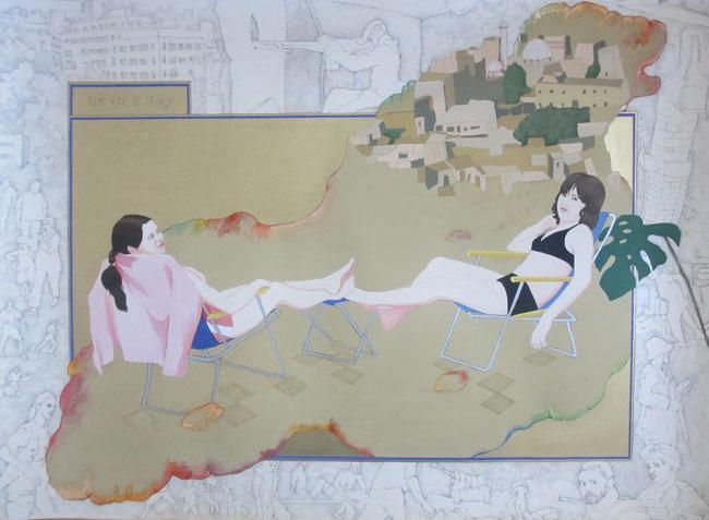 """""""Un été à Alep"""", 2015, 75x55, encre noire, gouache et aquarelle sur papier Vinci ©"""