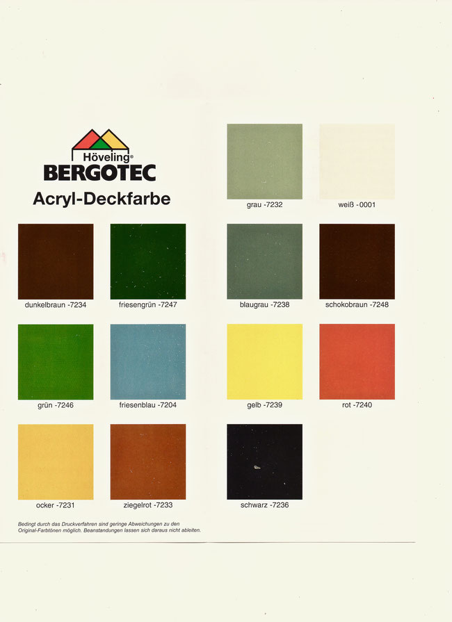 Farbtonkarte Bergotec Acryl-Deckfarbe - Deckende Wetterschutzfarbe für alle Hölzer -