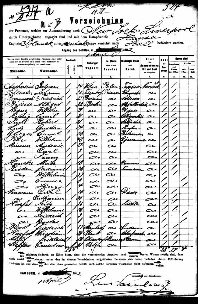 """Passagierliste """"SS Hansa"""" von Hamburg nach Hull, 1. Aprril 1882;     vergrössern >Klick<"""